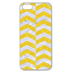 Chevron2 White Marble & Yellow Colored Pencil Apple Seamless Iphone 5 Case (clear)