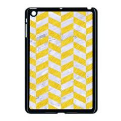Chevron1 White Marble & Yellow Colored Pencil Apple Ipad Mini Case (black)