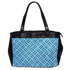 Woven2 White Marble & Turquoise Marble (r) Office Handbags