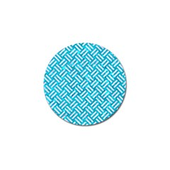 Woven2 White Marble & Turquoise Marble Golf Ball Marker
