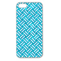 Woven2 White Marble & Turquoise Marble Apple Seamless Iphone 5 Case (clear)