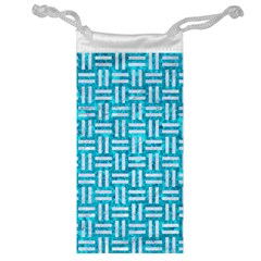 Woven1 White Marble & Turquoise Marble Jewelry Bag