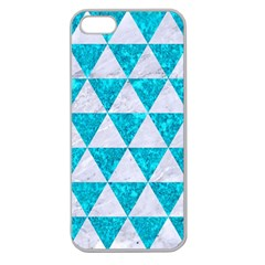 Triangle3 White Marble & Turquoise Marble Apple Seamless Iphone 5 Case (clear)