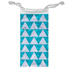 Triangle2 White Marble & Turquoise Marble Jewelry Bag