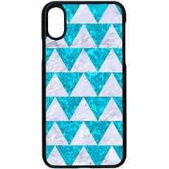 Triangle2 White Marble & Turquoise Marble Apple Iphone X Seamless Case (black)