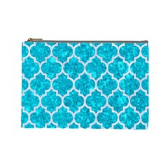 Tile1 White Marble & Turquoise Marble Cosmetic Bag (large)