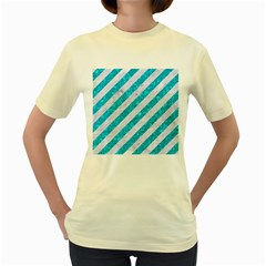 Stripes3 White Marble & Turquoise Marble (r) Women s Yellow T Shirt