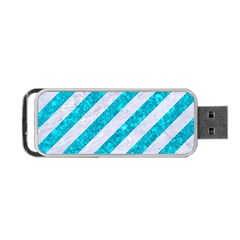 Stripes3 White Marble & Turquoise Marble (r) Portable Usb Flash (one Side)