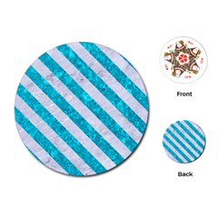 Stripes3 White Marble & Turquoise Marble Playing Cards (round)