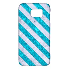 Stripes3 White Marble & Turquoise Marble Galaxy S6