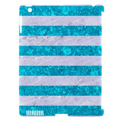 Stripes2white Marble & Turquoise Marble Apple Ipad 3/4 Hardshell Case (compatible With Smart Cover)