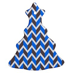 Zigzag Chevron Pattern Blue Grey Christmas Tree Ornament (two Sides)