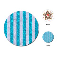 Stripes1 White Marble & Turquoise Marble Playing Cards (round)