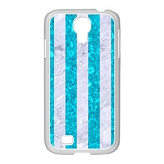 Stripes1 White Marble & Turquoise Marble Samsung Galaxy S4 I9500/ I9505 Case (white)