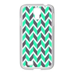 Zigzag Chevron Pattern Green Grey Samsung Galaxy S4 I9500/ I9505 Case (white)