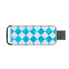 Square2 White Marble & Turquoise Marble Portable Usb Flash (one Side)