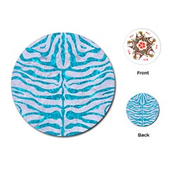 Skin2 White Marble & Turquoise Marble (r) Playing Cards (round)
