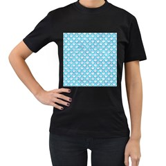 Scales2 White Marble & Turquoise Marble (r) Women s T Shirt (black)