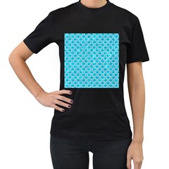 Scales2 White Marble & Turquoise Marble Women s T Shirt (black) (two Sided)