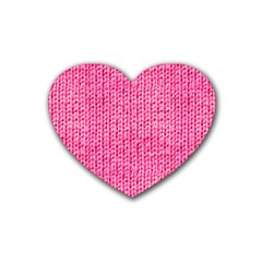 Knitted Wool Bright Pink Rubber Coaster (heart)