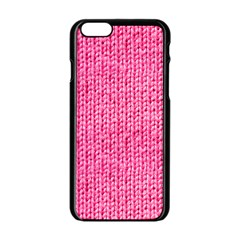 Knitted Wool Bright Pink Apple Iphone 6/6s Black Enamel Case