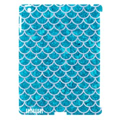 Scales1 White Marble & Turquoise Marble Apple Ipad 3/4 Hardshell Case (compatible With Smart Cover)