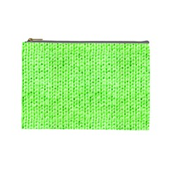 Knitted Wool Neon Green Cosmetic Bag (large)