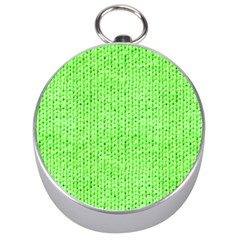 Knitted Wool Neon Green Silver Compasses