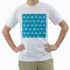Royal1 White Marble & Turquoise Marble (r) Men s T Shirt (white) (two Sided)