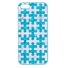 Puzzle1 White Marble & Turquoise Marble Apple Seamless Iphone 5 Case (color)