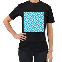 Houndstooth2 White Marble & Turquoise Marble Women s T Shirt (black) (two Sided)
