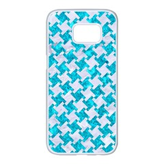 Houndstooth2 White Marble & Turquoise Marble Samsung Galaxy S7 Edge White Seamless Case