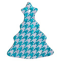 Houndstooth1 White Marble & Turquoise Marble Christmas Tree Ornament (two Sides)