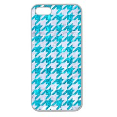 Houndstooth1 White Marble & Turquoise Marble Apple Seamless Iphone 5 Case (clear)
