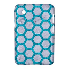 Hexagon2 White Marble & Turquoise Marble (r) Samsung Galaxy Tab 2 (7 ) P3100 Hardshell Case