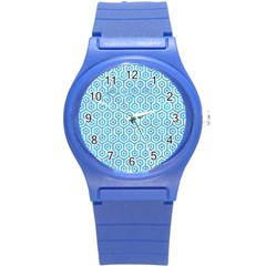 Hexagon1 White Marble & Turquoise Marble (r) Round Plastic Sport Watch (s)