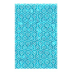 Hexagon1 White Marble & Turquoise Marble Shower Curtain 48  X 72  (small)