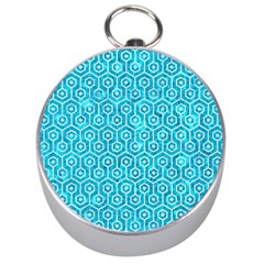 Hexagon1 White Marble & Turquoise Marble Silver Compasses