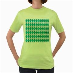 Diamond1 White Marble & Turquoise Marble Women s Green T Shirt