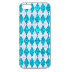 Diamond1 White Marble & Turquoise Marble Apple Seamless Iphone 5 Case (clear)
