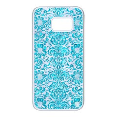 Damask2 White Marble & Turquoise Marble (r) Samsung Galaxy S7 White Seamless Case