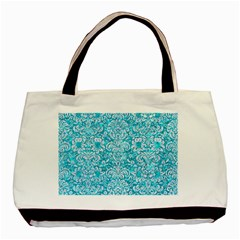 Damask2 White Marble & Turquoise Marble Basic Tote Bag