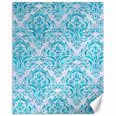Damask1 White Marble & Turquoise Marble (r) Canvas 11  X 14