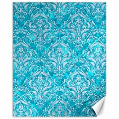 Damask1 White Marble & Turquoise Marble Canvas 11  X 14