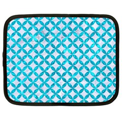 Circles3 White Marble & Turquoise Marble (r) Netbook Case (xxl)