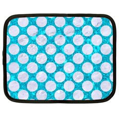 Circles2 White Marble & Turquoise Marble Netbook Case (xxl)