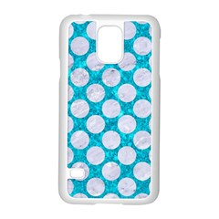 Circles2 White Marble & Turquoise Marble Samsung Galaxy S5 Case (white)
