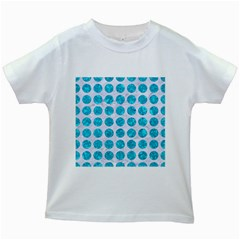 Circles1 White Marble & Turquoise Marble (r) Kids White T Shirts