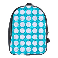 Circles1 White Marble & Turquoise Marble School Bag (large)