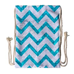 Chevron9 White Marble & Turquoise Marble (r) Drawstring Bag (large)